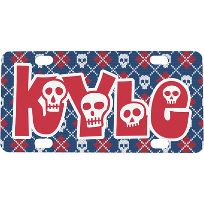 Knitted Argyle & Skulls Mini / Bicycle License Plate (4 Holes) (Personalized)