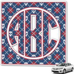 Knitted Argyle & Skulls Monogram Car Decal (Personalized)