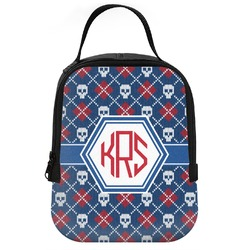 Knitted Argyle & Skulls Neoprene Lunch Tote (Personalized)