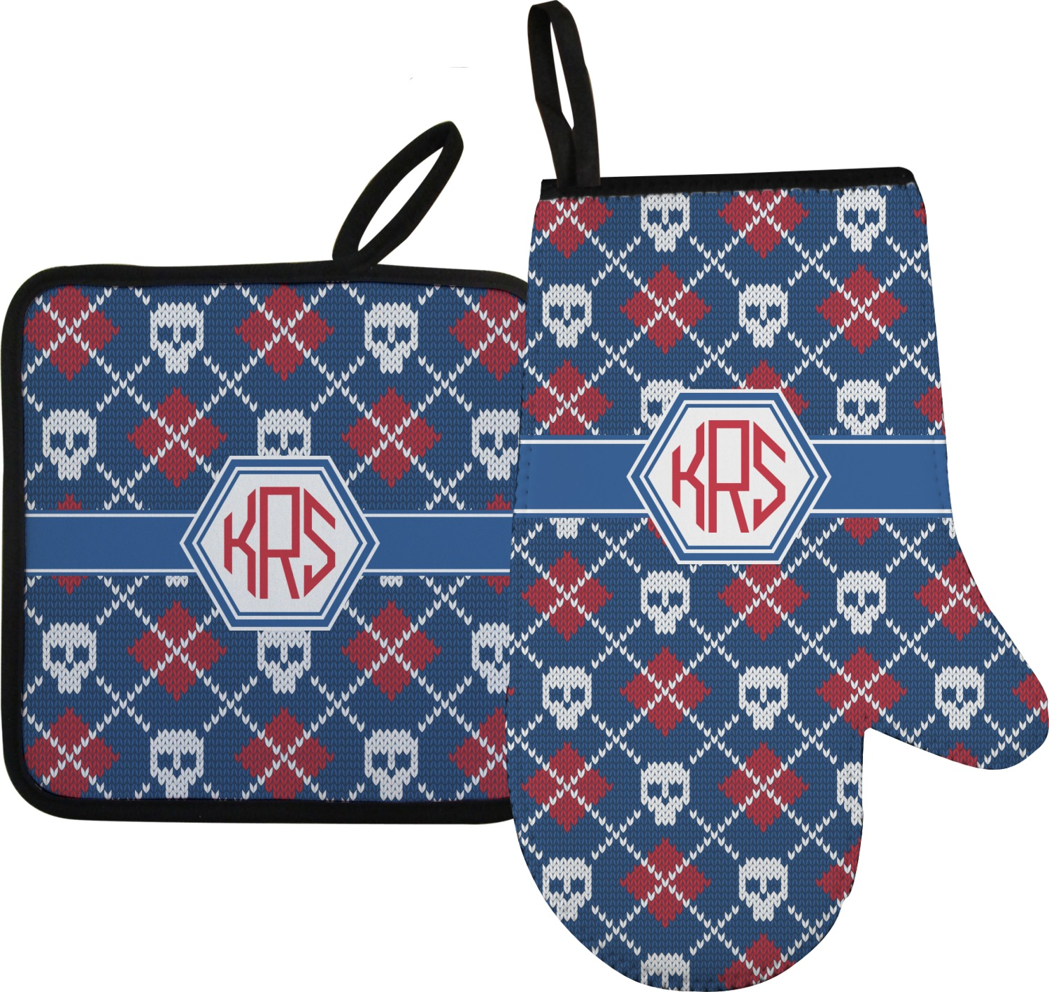 Knitted Argyle & Skulls Oven Mitt & Pot Holder (Personalized ...
