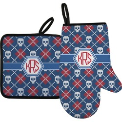 Knitted Argyle & Skulls Oven Mitt & Pot Holder (Personalized)