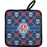Knitted Argyle & Skulls Pot Holder (Personalized)