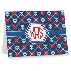 Knitted Argyle & Skulls Notecards (Personalized)