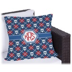 Knitted Argyle & Skulls Outdoor Pillow (Personalized)