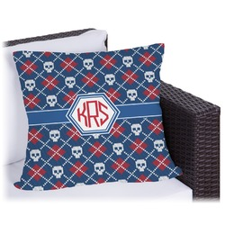 """Knitted Argyle & Skulls Outdoor Pillow - 18"""" (Personalized)"""