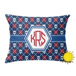 Knitted Argyle & Skulls Outdoor Throw Pillow (Rectangular) (Personalized)