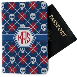 Knitted Argyle & Skulls Passport Holder - Fabric (Personalized)