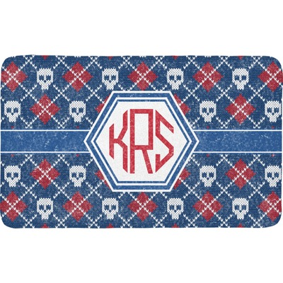 Knitted Argyle & Skulls Bath Mat (Personalized)