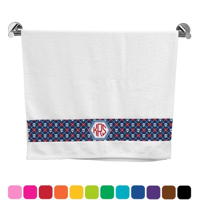 Knitted Argyle & Skulls Bath Towel (Personalized)