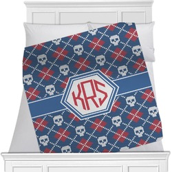 "Knitted Argyle & Skulls Fleece Blanket - Twin / Full - 80""x60"" - Double Sided (Personalized)"