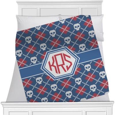 Knitted Argyle & Skulls Minky Blanket (Personalized)