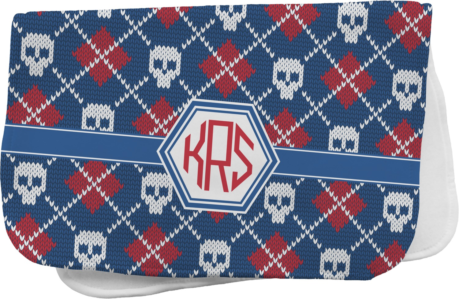 Knitted Argyle Amp Skulls Burp Cloth Personalized
