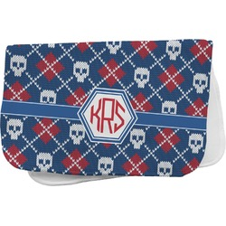 Knitted Argyle & Skulls Burp Cloth (Personalized)