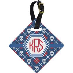 Knitted Argyle & Skulls Diamond Luggage Tag (Personalized)