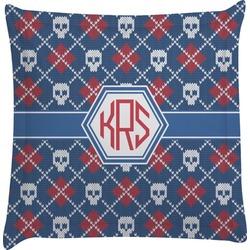 Knitted Argyle & Skulls Euro Sham Pillow Case (Personalized)