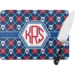Knitted Argyle & Skulls Rectangular Glass Cutting Board (Personalized)