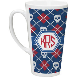 Knitted Argyle & Skulls Latte Mug (Personalized)