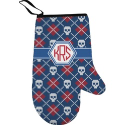 Knitted Argyle & Skulls Right Oven Mitt (Personalized)