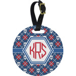 Knitted Argyle & Skulls Round Luggage Tag (Personalized)