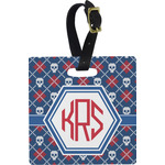 Knitted Argyle & Skulls Square Luggage Tag (Personalized)