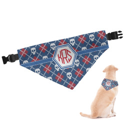 Knitted Argyle & Skulls Dog Bandana (Personalized)