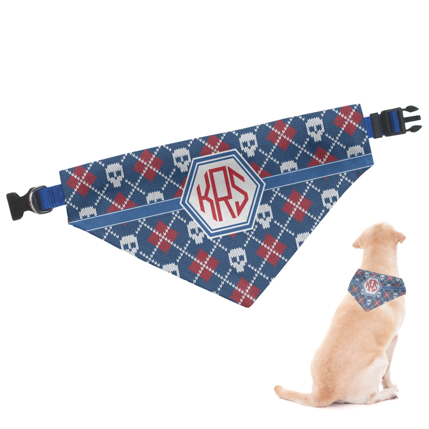 Knitted Argyle & Skulls Dog Bandana - Medium (Personalized) - YouCustomizeIt