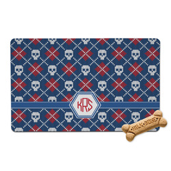 Knitted Argyle & Skulls Pet Bowl Mat (Personalized)