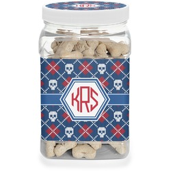 Knitted Argyle & Skulls Pet Treat Jar (Personalized)