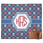 Knitted Argyle & Skulls Outdoor Picnic Blanket (Personalized)