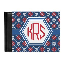 Knitted Argyle & Skulls Genuine Leather Guest Book (Personalized)