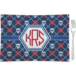 Knitted Argyle & Skulls Rectangular Glass Appetizer / Dessert Plate - Single or Set (Personalized)