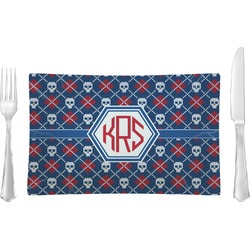 Knitted Argyle & Skulls Glass Rectangular Lunch / Dinner Plate - Single or Set (Personalized)