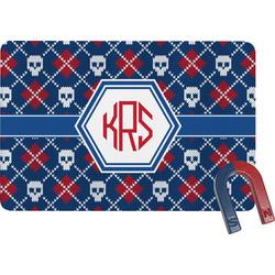 Knitted Argyle & Skulls Rectangular Fridge Magnet (Personalized)