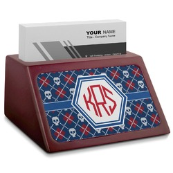Knitted Argyle & Skulls Red Mahogany Business Card Holder (Personalized)