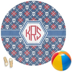 Knitted Argyle & Skulls Round Beach Towel (Personalized)