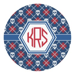 Knitted Argyle & Skulls Round Decal - Custom Size (Personalized)