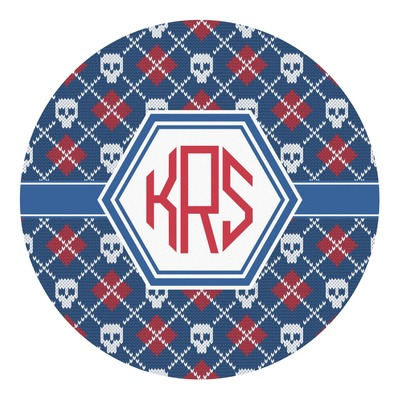 Knitted Argyle & Skulls Round Decal (Personalized)