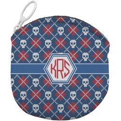 Knitted Argyle & Skulls Round Coin Purse (Personalized)