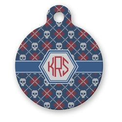 Knitted Argyle & Skulls Round Pet Tag (Personalized)