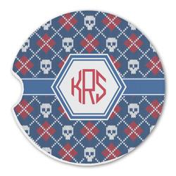 Knitted Argyle & Skulls Sandstone Car Coasters (Personalized)