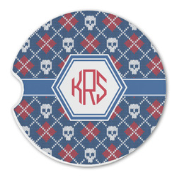 Knitted Argyle & Skulls Sandstone Car Coasters (Personalized)