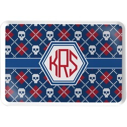 Knitted Argyle & Skulls Serving Tray (Personalized)