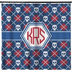 Knitted Argyle & Skulls Shower Curtain (Personalized)
