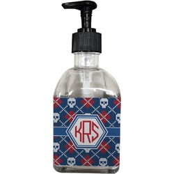 Knitted Argyle & Skulls Soap/Lotion Dispenser (Glass) (Personalized)