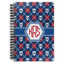 Knitted Argyle & Skulls Spiral Notebook (Personalized)