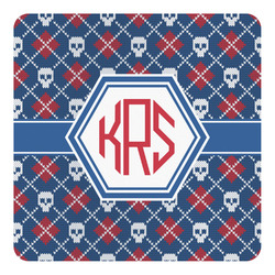 Knitted Argyle & Skulls Square Decal - Custom Size (Personalized)