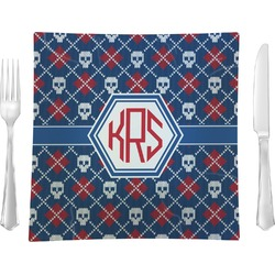 "Knitted Argyle & Skulls Glass Square Lunch / Dinner Plate 9.5"" - Single or Set of 4 (Personalized)"