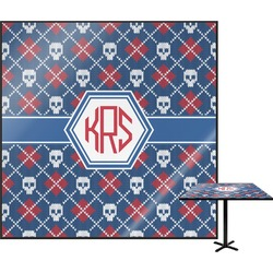Knitted Argyle & Skulls Square Table Top (Personalized)