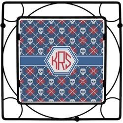 Knitted Argyle & Skulls Square Trivet (Personalized)