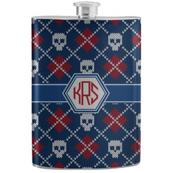 Knitted Argyle & Skulls Stainless Steel Flask (Personalized)